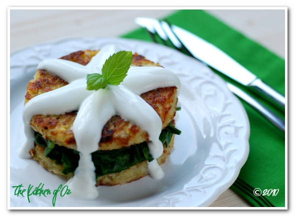 Sauted Chard in Potato Pancakes